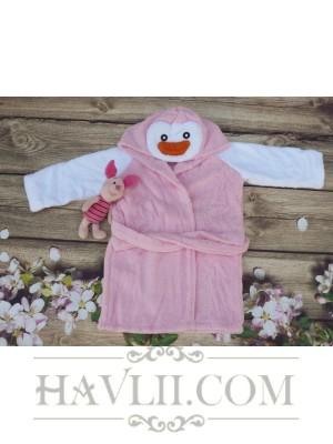 Халат Детски Микропамук - Розов пингвин