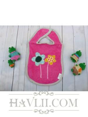 Бебешки лигавник с апликация – Розов
