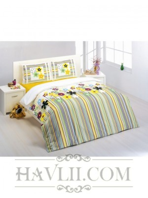 Спален комплект с два плика - Рае с цветя