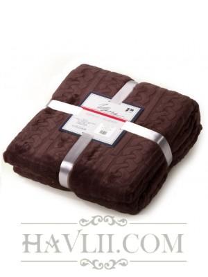 180/220 Едноцветно одеяло на релефни осморки - кафяв